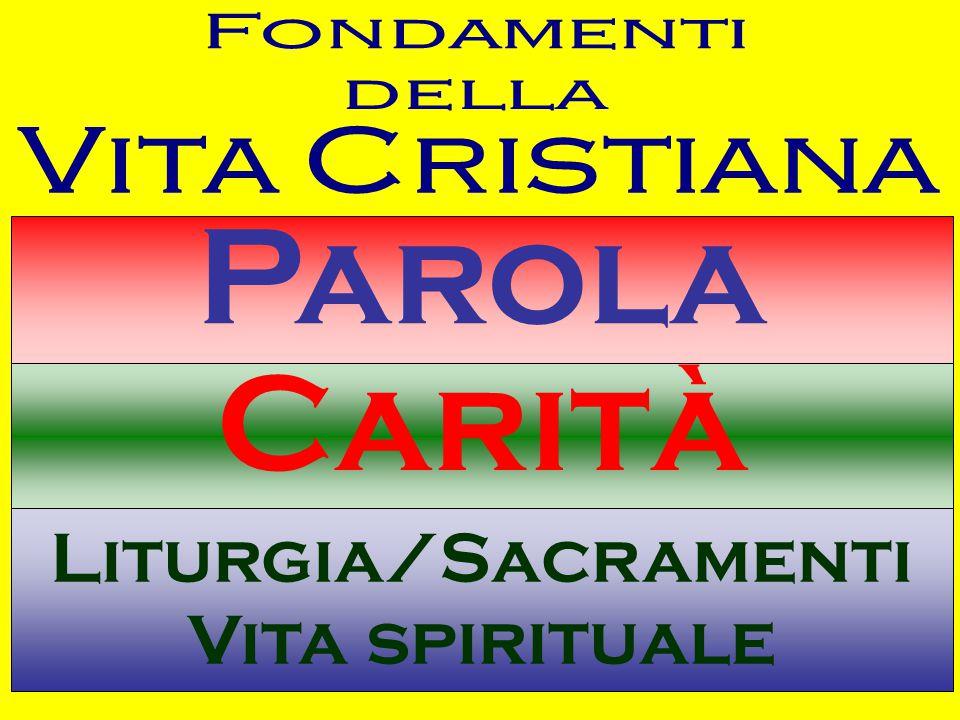 Parola Carità Liturgia/Sacramenti Vita spirituale Fondamenti della