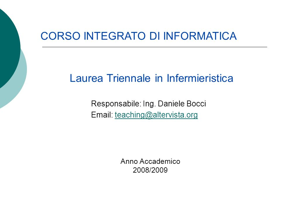 Laurea Triennale in Infermieristica