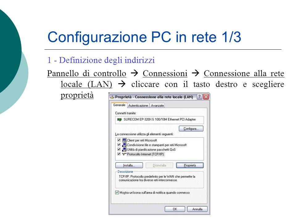 Configurazione PC in rete 1/3