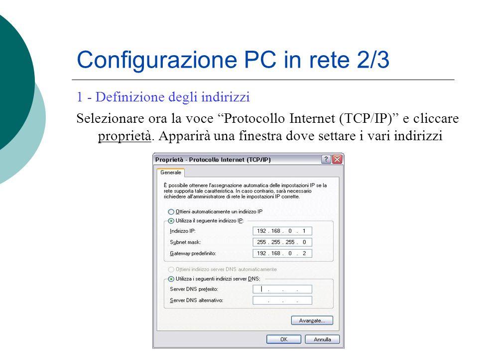Configurazione PC in rete 2/3