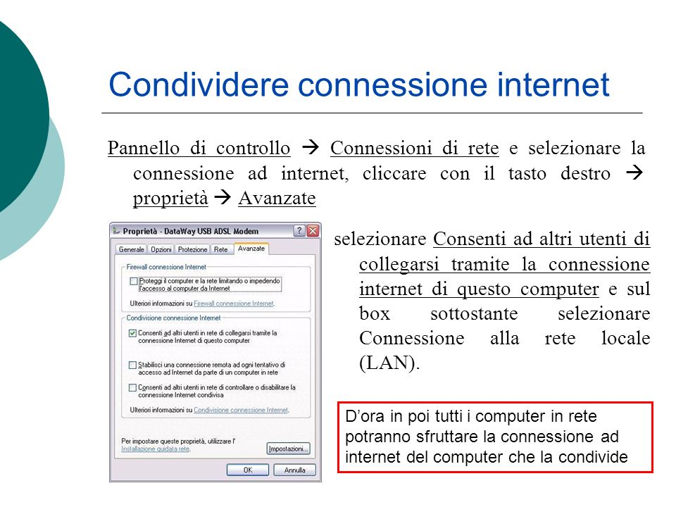 Condividere connessione internet