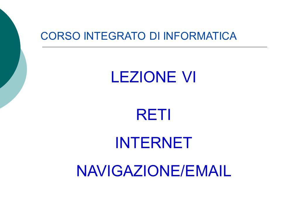 LEZIONE VI RETI INTERNET NAVIGAZIONE/EMAIL