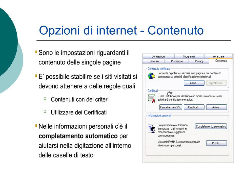 Opzioni di internet - Contenuto
