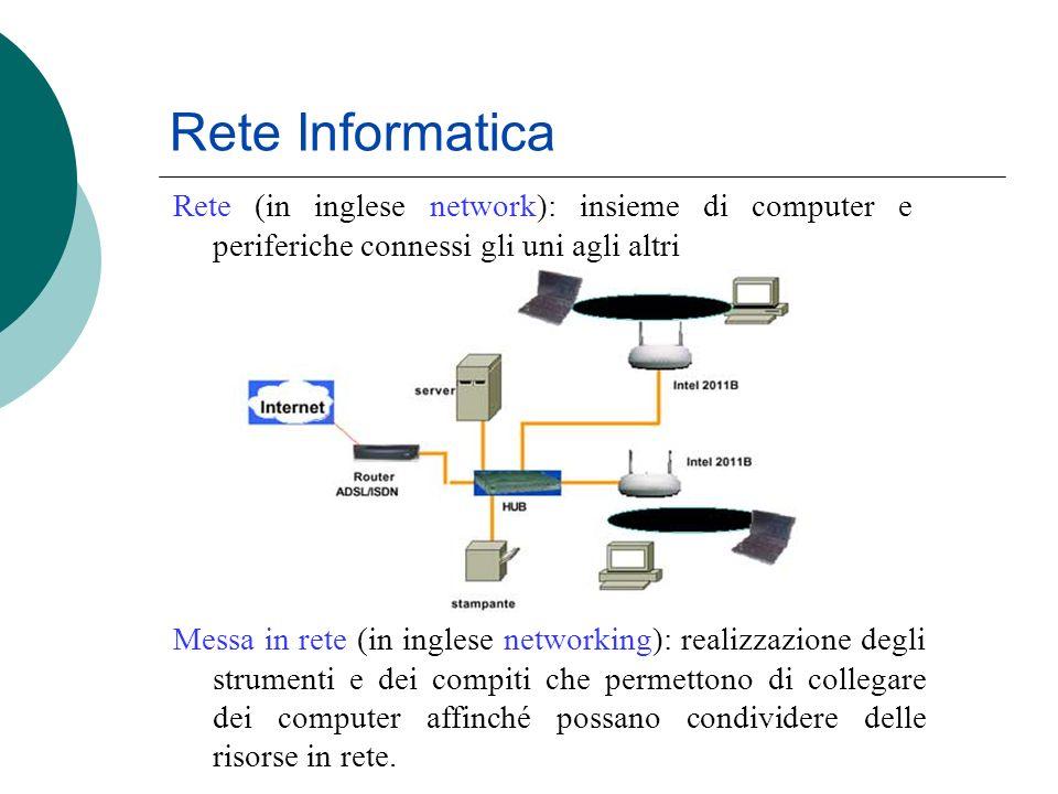 Rete Informatica Rete (in inglese network): insieme di computer e periferiche connessi gli uni agli altri.