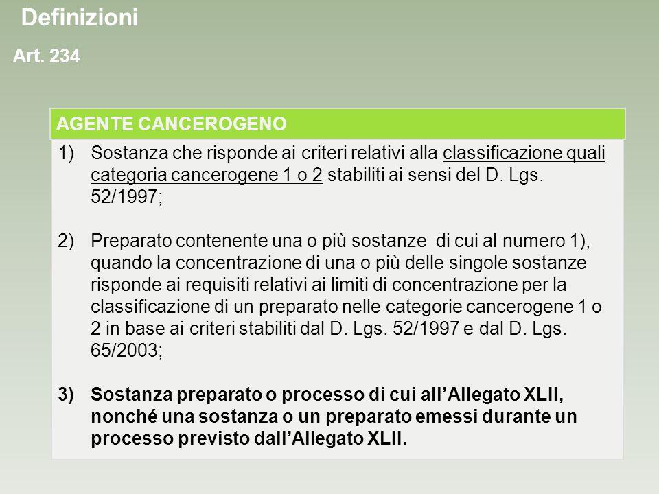 Definizioni Art. 234 AGENTE CANCEROGENO