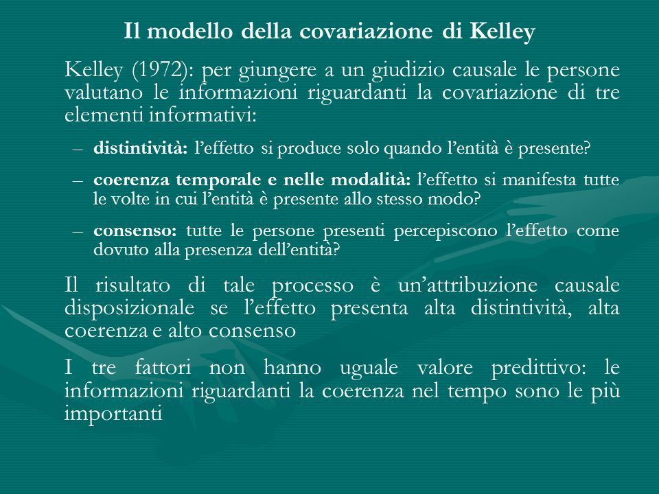 Il modello della covariazione di Kelley