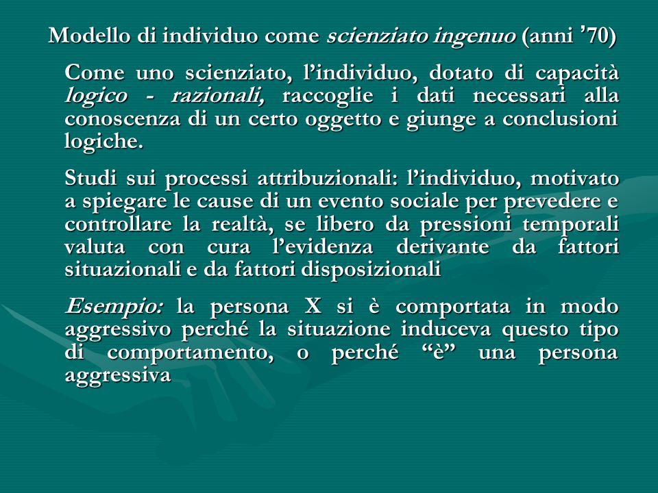 Modello di individuo come scienziato ingenuo (anni '70)