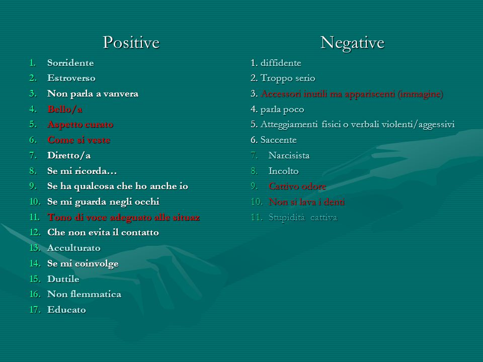 Positive Negative Sorridente Estroverso Non parla a vanvera Bello/a