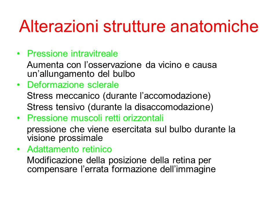Alterazioni strutture anatomiche