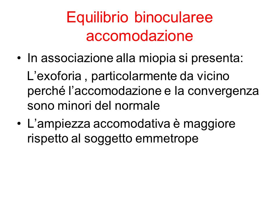 Equilibrio binocularee accomodazione