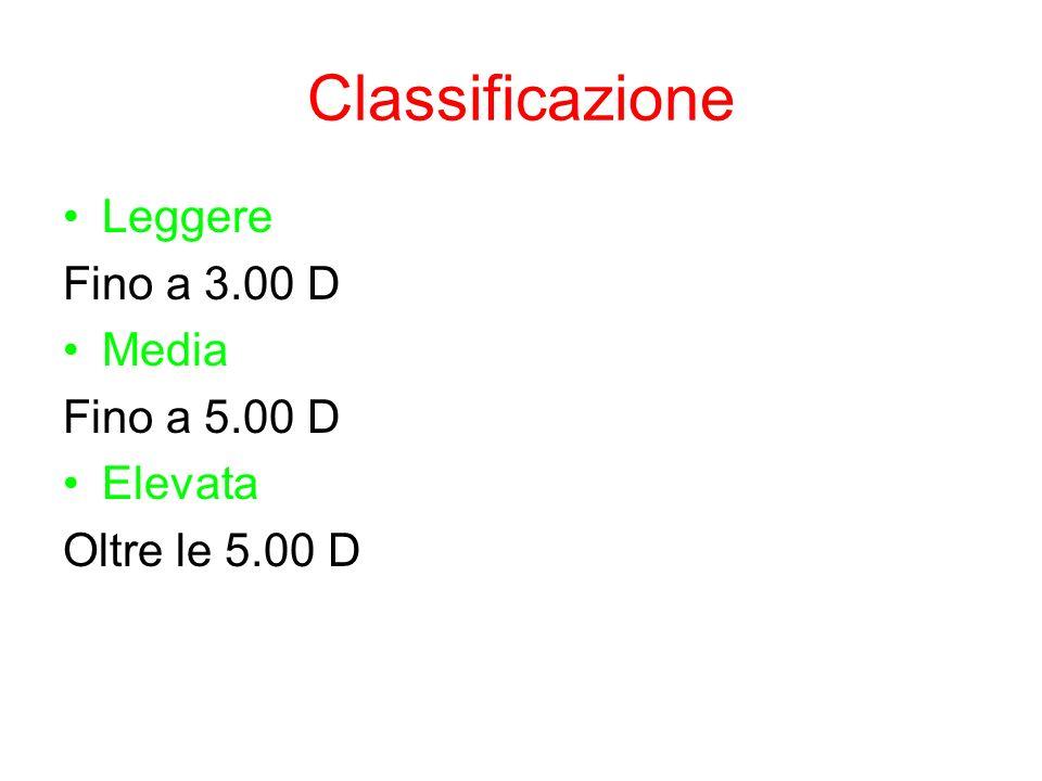 Classificazione Leggere Fino a 3.00 D Media Fino a 5.00 D Elevata