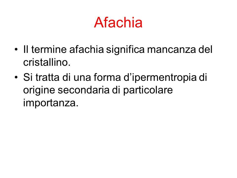 Afachia Il termine afachia significa mancanza del cristallino.