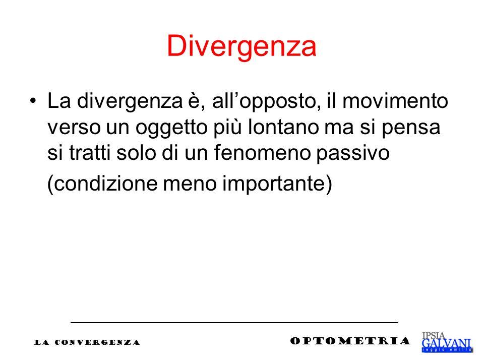 Divergenza La divergenza è, all'opposto, il movimento verso un oggetto più lontano ma si pensa si tratti solo di un fenomeno passivo.