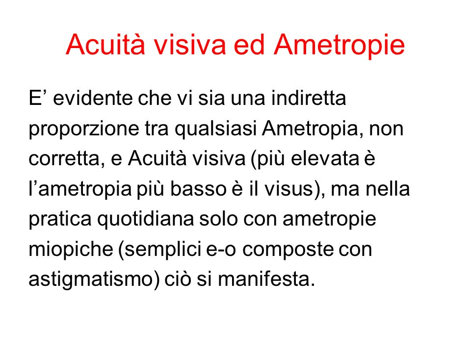 Acuità visiva ed Ametropie