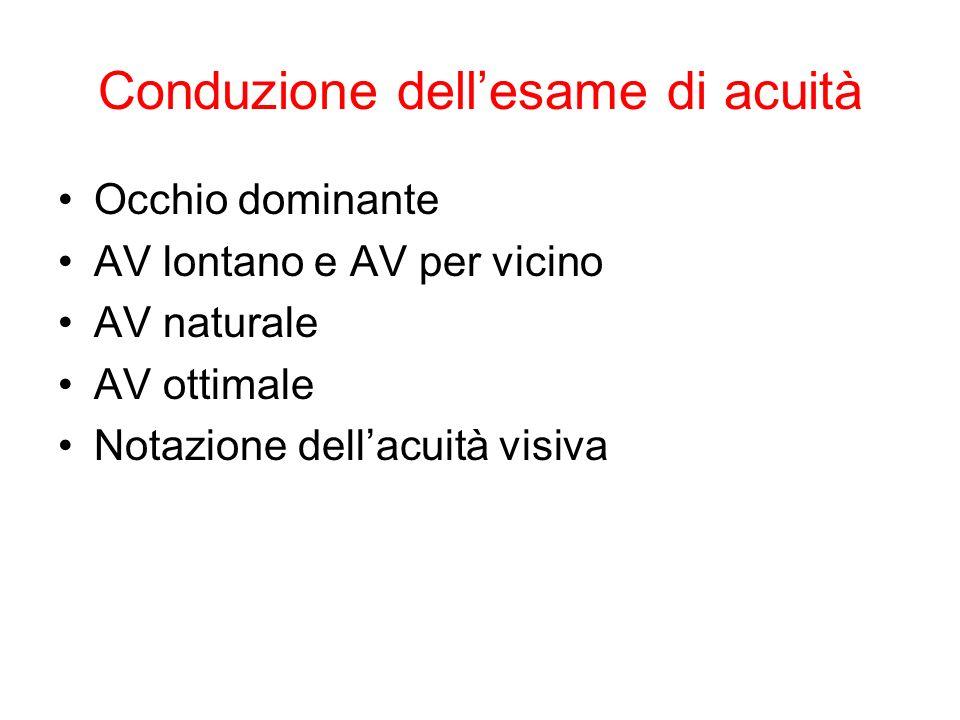Conduzione dell'esame di acuità