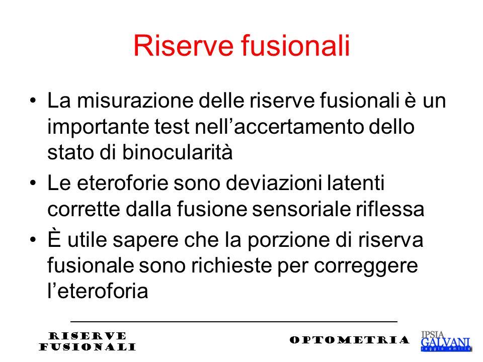 Riserve fusionali La misurazione delle riserve fusionali è un importante test nell'accertamento dello stato di binocularità.