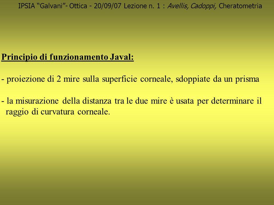 Principio di funzionamento Javal: