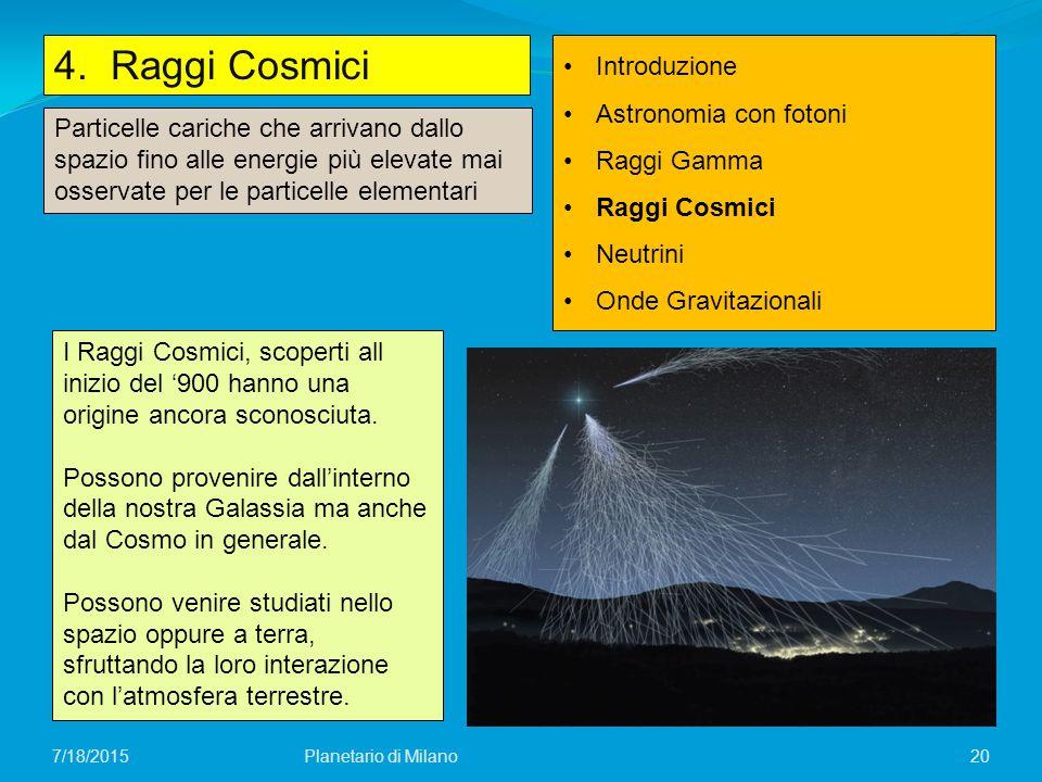 4. Raggi Cosmici Introduzione Astronomia con fotoni Raggi Gamma