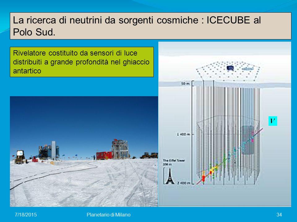 La ricerca di neutrini da sorgenti cosmiche : ICECUBE al Polo Sud.