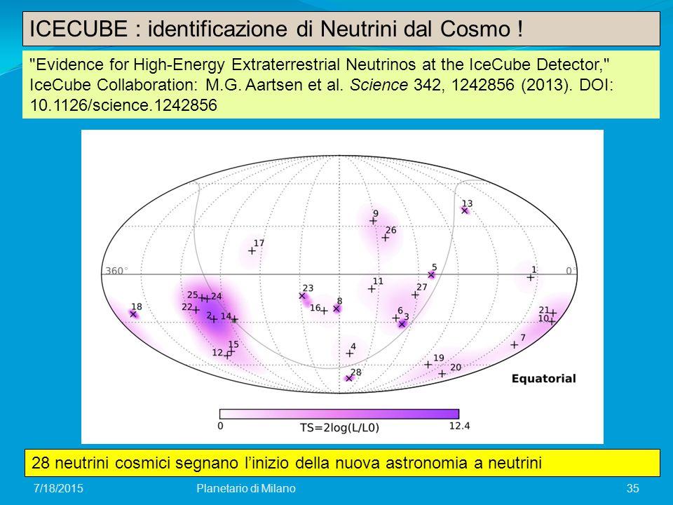 ICECUBE : identificazione di Neutrini dal Cosmo !
