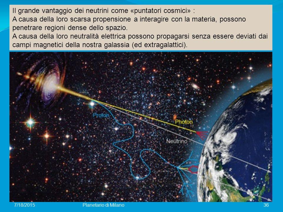 Il grande vantaggio dei neutrini come «puntatori cosmici» :