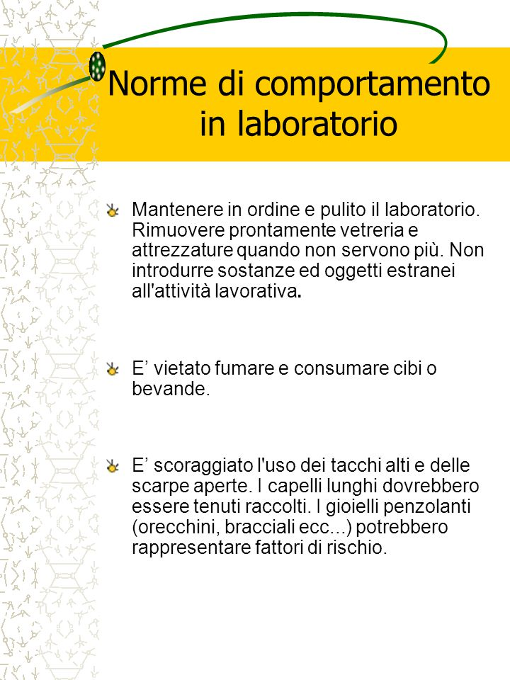 Norme di comportamento in laboratorio
