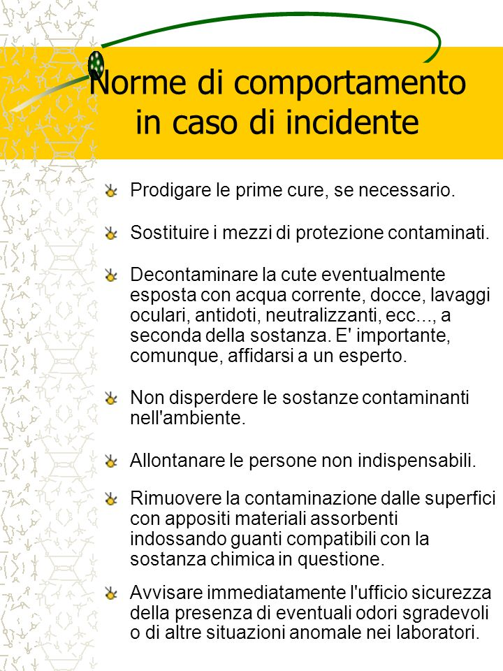 Norme di comportamento in caso di incidente