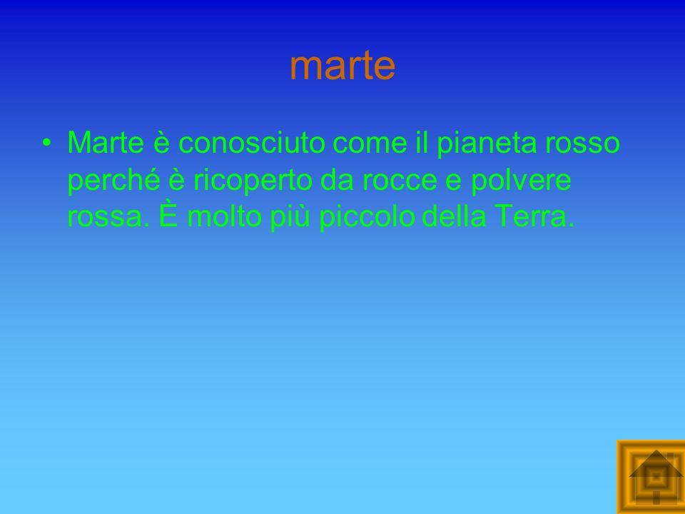 marte Marte è conosciuto come il pianeta rosso perché è ricoperto da rocce e polvere rossa.