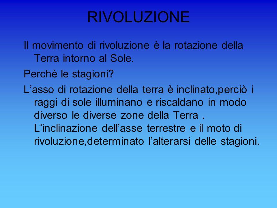 RIVOLUZIONE Il movimento di rivoluzione è la rotazione della Terra intorno al Sole. Perchè le stagioni