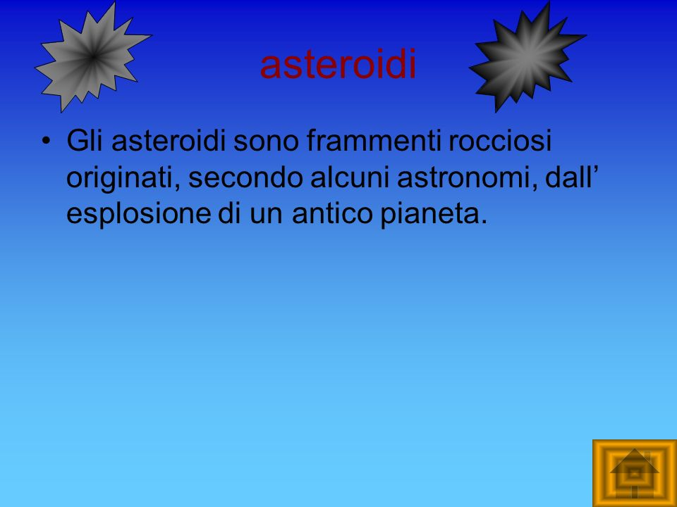asteroidi Gli asteroidi sono frammenti rocciosi originati, secondo alcuni astronomi, dall' esplosione di un antico pianeta.