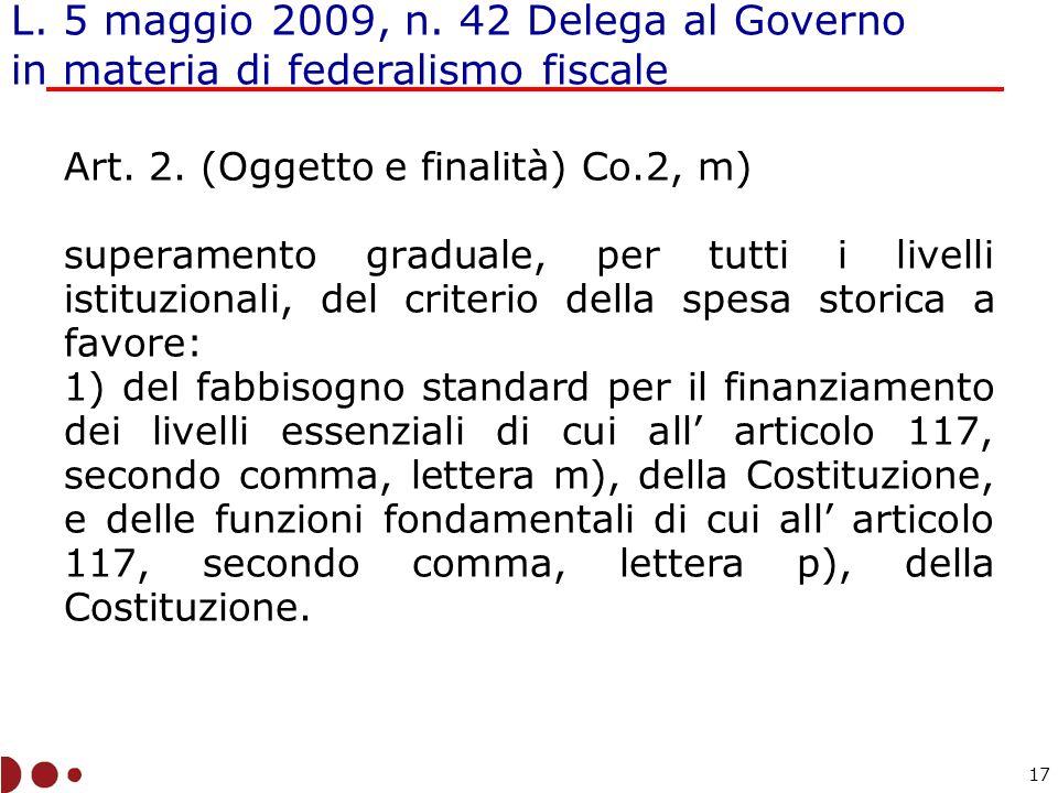 L. 5 maggio 2009, n. 42 Delega al Governo in materia di federalismo fiscale