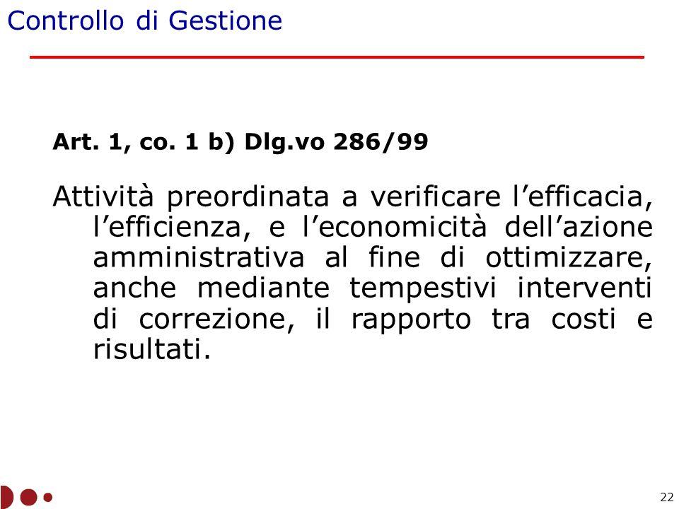 Controllo di Gestione Art. 1, co. 1 b) Dlg.vo 286/99.