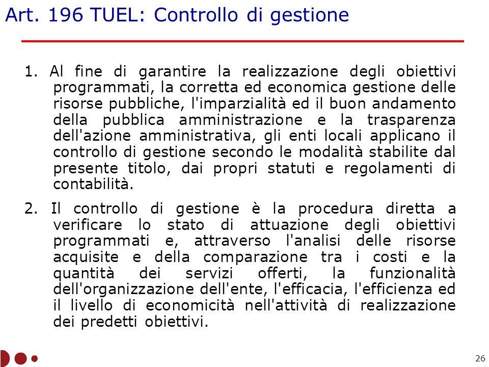 Art. 196 TUEL: Controllo di gestione