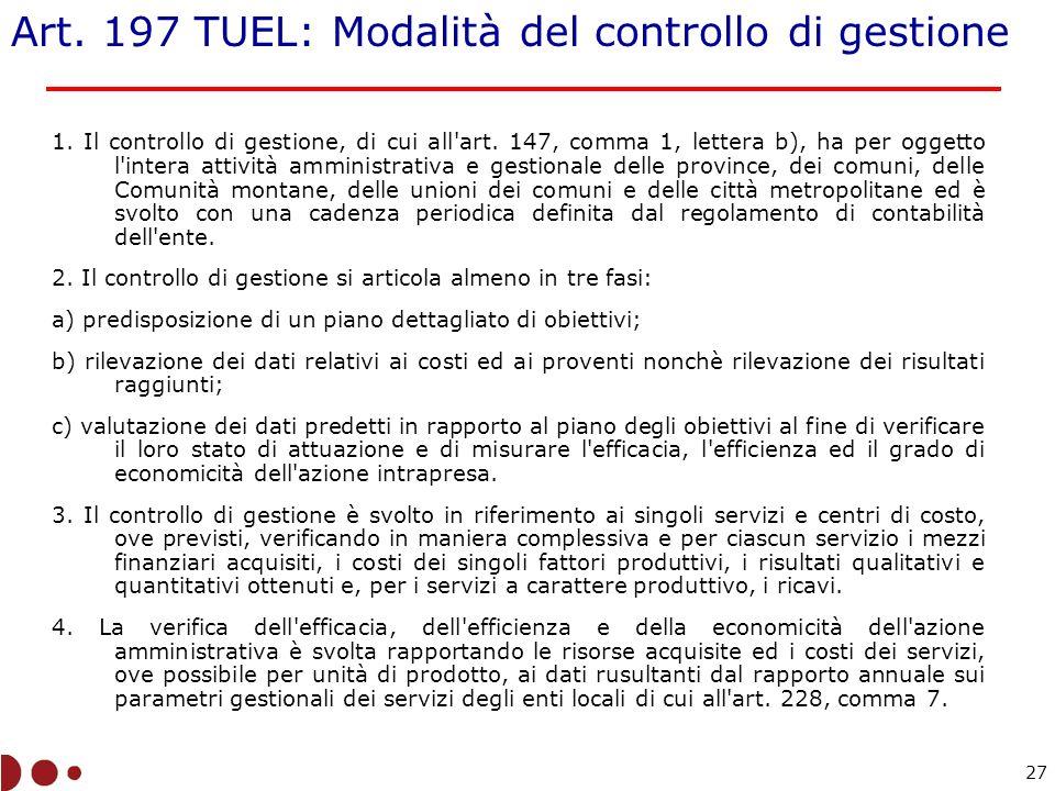 Art. 197 TUEL: Modalità del controllo di gestione