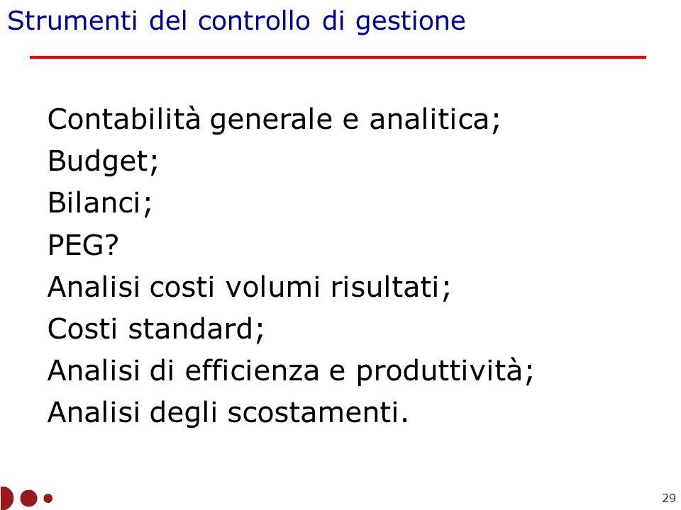 Contabilità generale e analitica; Budget; Bilanci; PEG