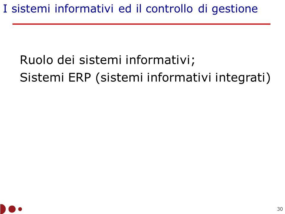 Ruolo dei sistemi informativi;