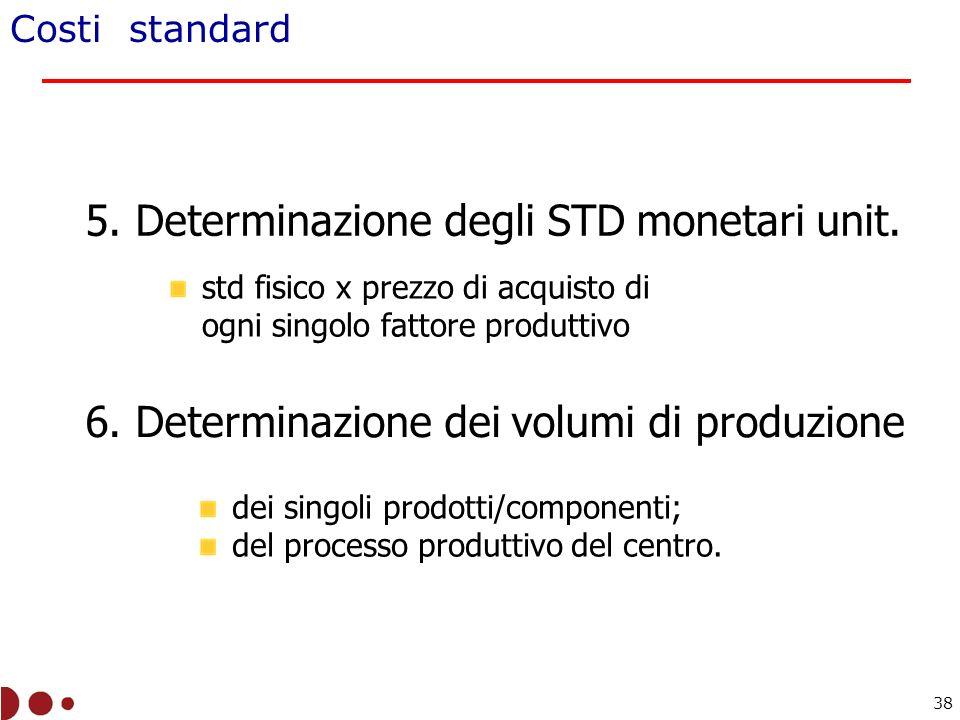 5. Determinazione degli STD monetari unit.