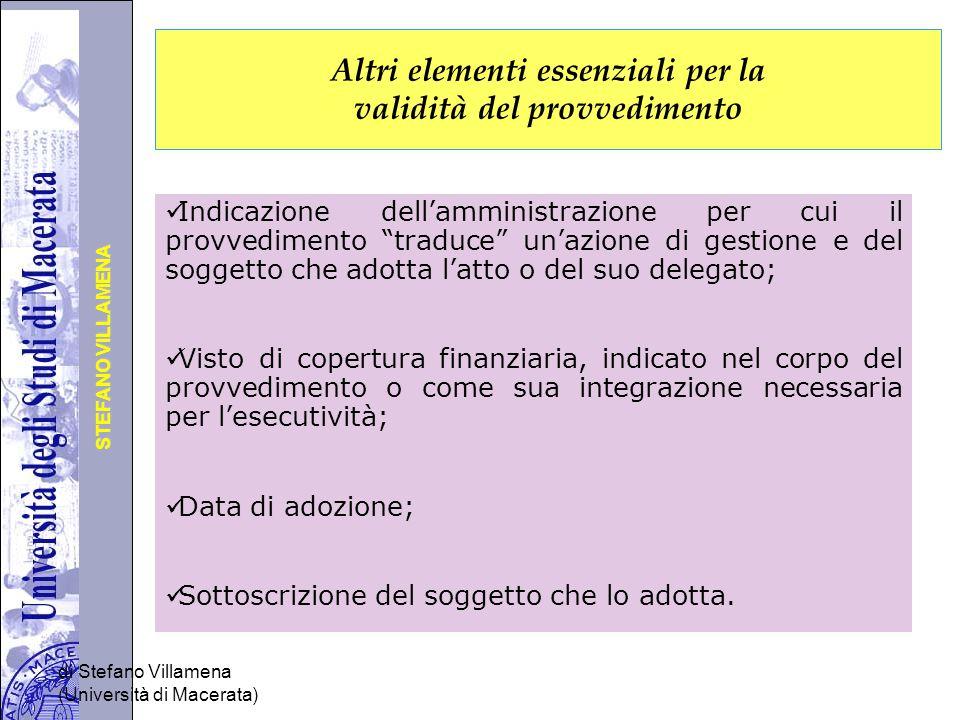 Altri elementi essenziali per la validità del provvedimento