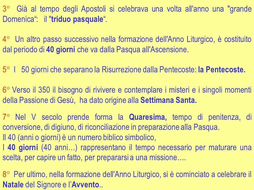 3° Già al tempo degli Apostoli si celebrava una volta all anno una grande Domenica : il triduo pasquale .