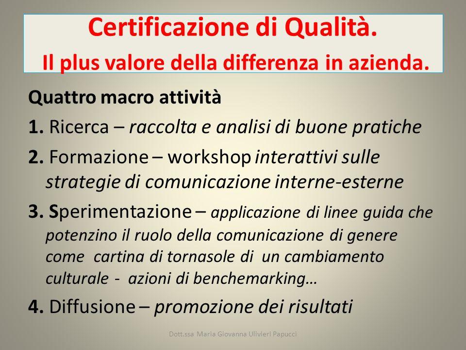 Certificazione di Qualità. Il plus valore della differenza in azienda.