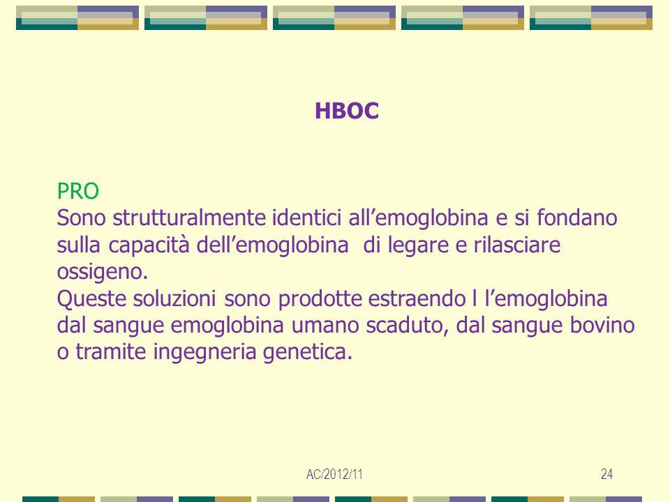 HBOC PRO. Sono strutturalmente identici all'emoglobina e si fondano sulla capacità dell'emoglobina di legare e rilasciare ossigeno.