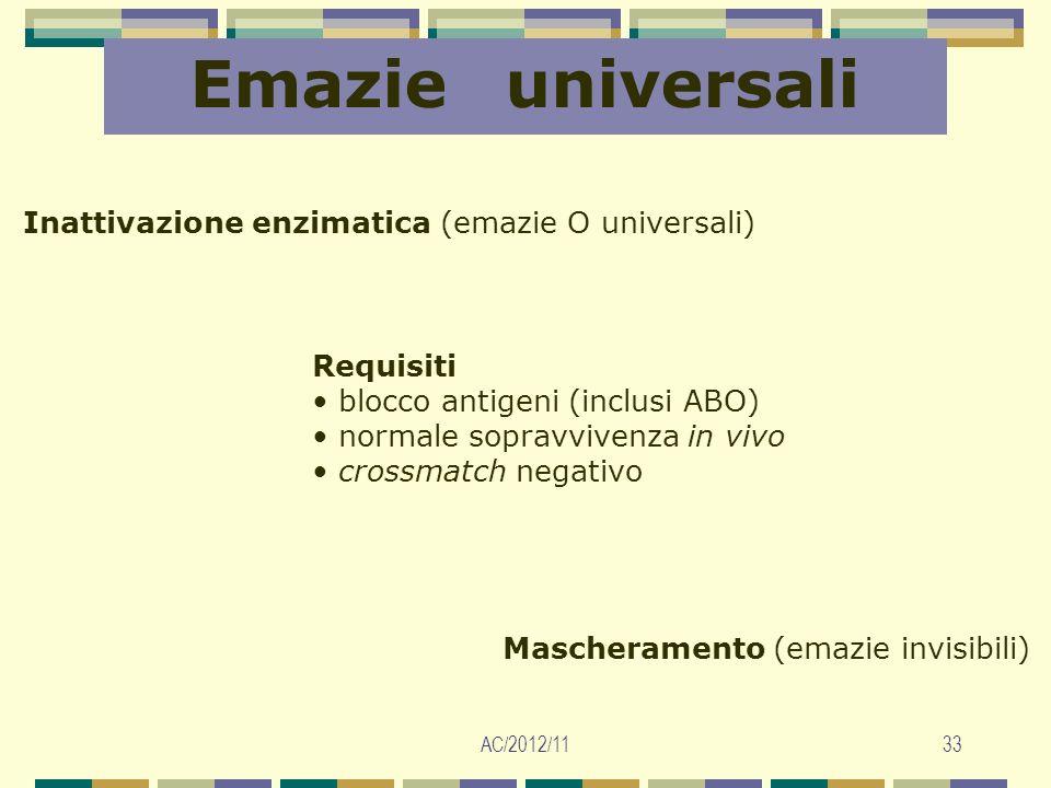 Emazie universali Inattivazione enzimatica (emazie O universali)