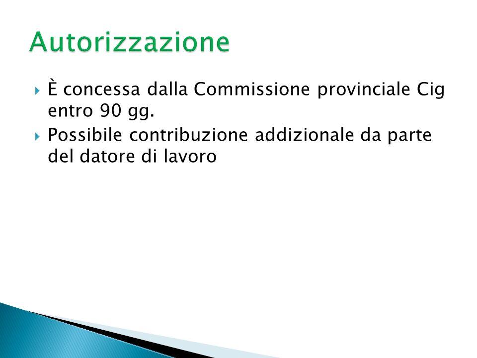 Autorizzazione È concessa dalla Commissione provinciale Cig entro 90 gg.