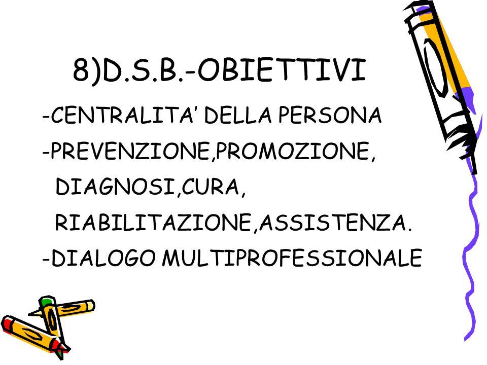 8)D.S.B.-OBIETTIVI -CENTRALITA' DELLA PERSONA -PREVENZIONE,PROMOZIONE, DIAGNOSI,CURA, RIABILITAZIONE,ASSISTENZA.