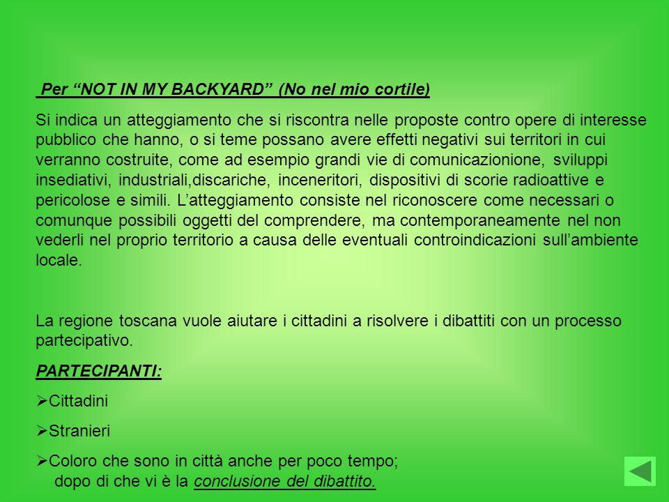 Per NOT IN MY BACKYARD (No nel mio cortile)