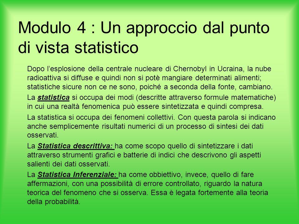 Modulo 4 : Un approccio dal punto di vista statistico