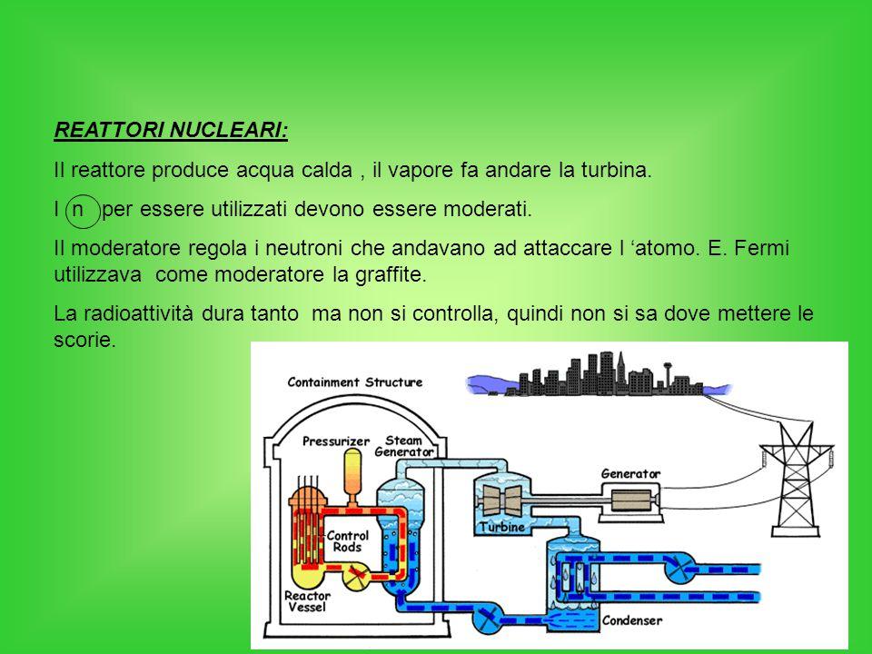 REATTORI NUCLEARI: Il reattore produce acqua calda , il vapore fa andare la turbina. I n per essere utilizzati devono essere moderati.