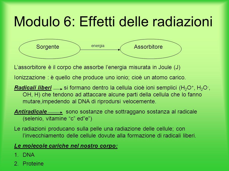 Modulo 6: Effetti delle radiazioni