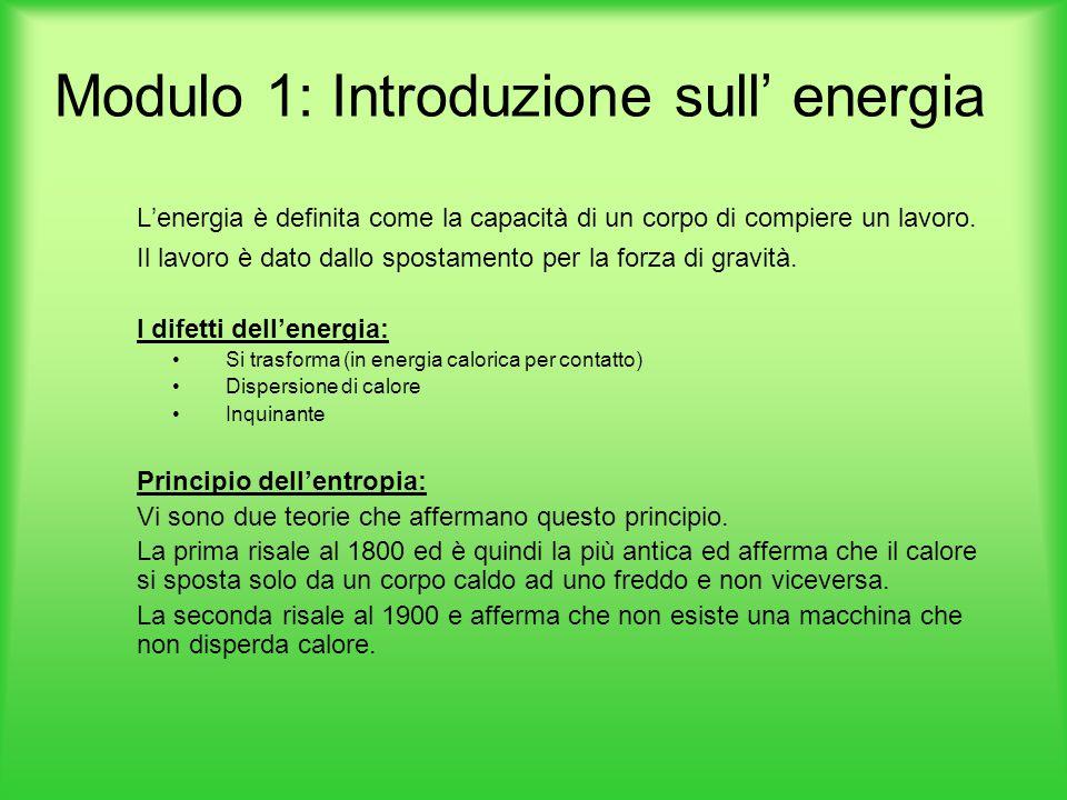 Modulo 1: Introduzione sull' energia