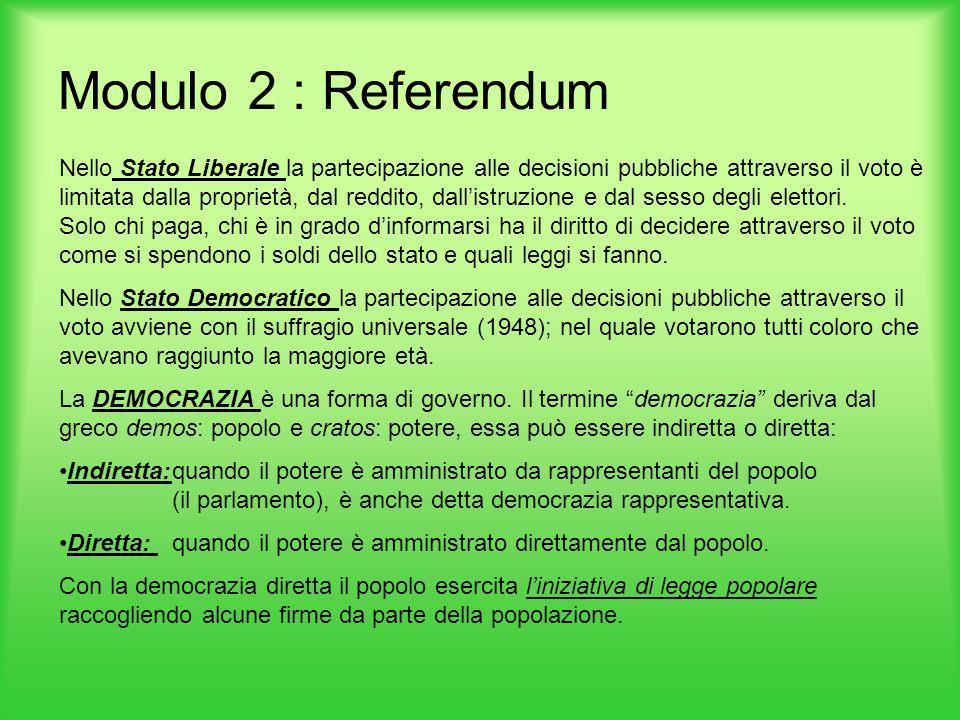 Modulo 2 : Referendum
